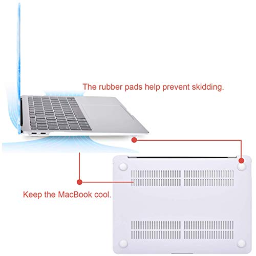 MOSISO MacBook Air 13 inch Case 2020 2019 2018 Release A2179 A1932 Retina Display, Plastic Pattern Hard Shell & Keyboard Cover & Screen Protector Only Compatible with MacBook Air 13, White Blue Marble