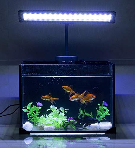 Hygger Blue White LED Aquarium Lights Clip on Fish Tank Lamp Lighting for Saltwater Freshwater with Gooseneck Clamp 21-watt