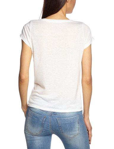 Vero Moda Moda - Camiseta de manga corta con cuello redondo para mujer Blanco (Snow White)/Print W Bright Green Tiger