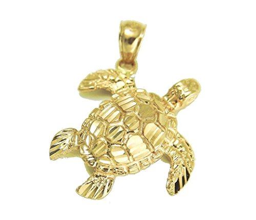 14k Solid yellow gold sparkly diamond cut Hawaiian sea turtle honu pendant large