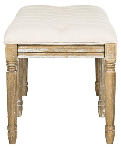 Safavieh Home Collection Rocha French Brasserie Tufted Beige and Rustic Oak 19-inch Wood Bench by Safavieh (Image #5)