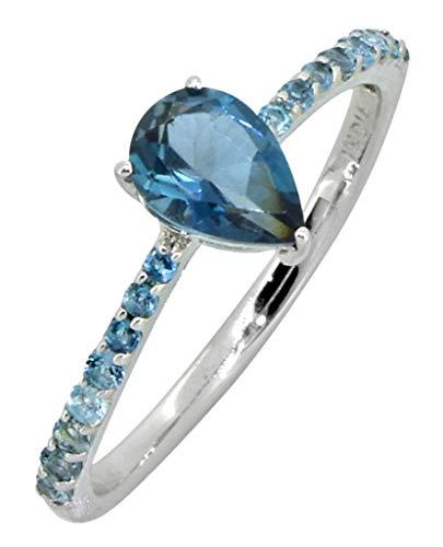 YoTreasure 0.85 Cts. London Blue Topaz Solid 925 Sterling Silver Designer ()