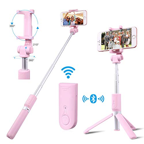 Selfie Stick Bluetooth, Pokanic Extendable Adjustable Phone Tripod Holder, Universal Clip, Wireless Remote, Compatible with iPhone, Android, Samsung Galaxy and More (Pink)
