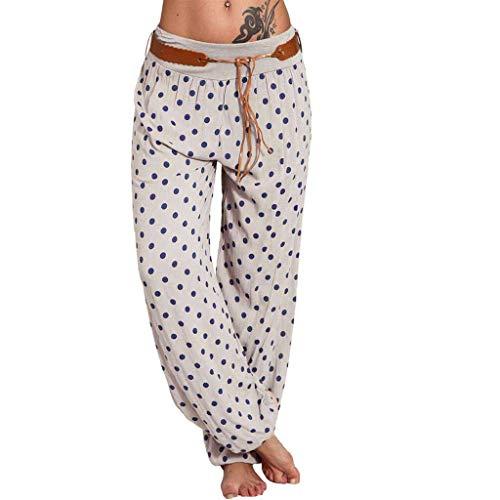 - Haalife◕‿ Women Loose Pants Polka Dots Floral Print Boho Yoga Pants Harem Pants Ladies Wide Leg Lounge Pants Coffee