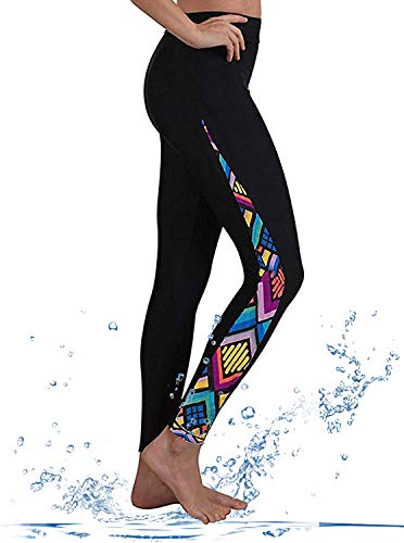 GEEK LIGHTING Womens Wetsuit Pants UV Protective Surfing Board Diving Canoe Pants Floral-B Medium (Surf Skin Pant)