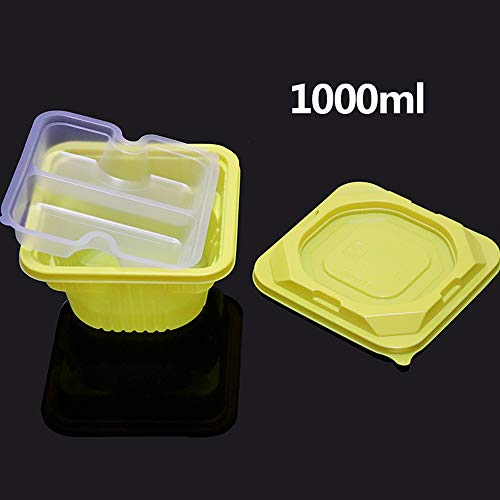 Disposable Plastic Food Lunch Bowl - Double Layer Reusable with Lid 2 Compartment Meal Prep Containers [100 Pack]