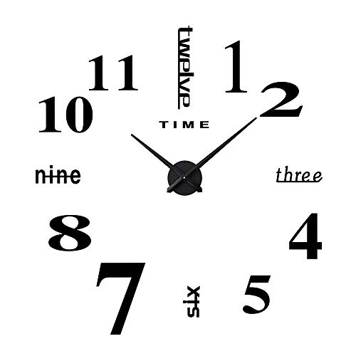 YmissL Black Wall Clock Large Silent Non Ticking, 3D DIY Battery Operated Clock with Mirror Numbers Stickers- 36 Inch(1M Wall Watches for Home, Living Room Decor Gift by YmissL