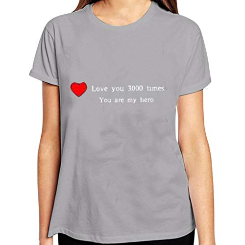 (I Love You 3000 Times Printing T-Shirt Women Men Couple Short Sleeve Tops, Thank You Fan End Game/Best Gifts Gray)