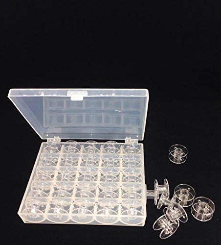 Gshy bobinas de m/áquina de Coser bobinas pl/ástico Transparente latas vac/ías de pl/ástico con Caja de almacenaje 25/Piezas