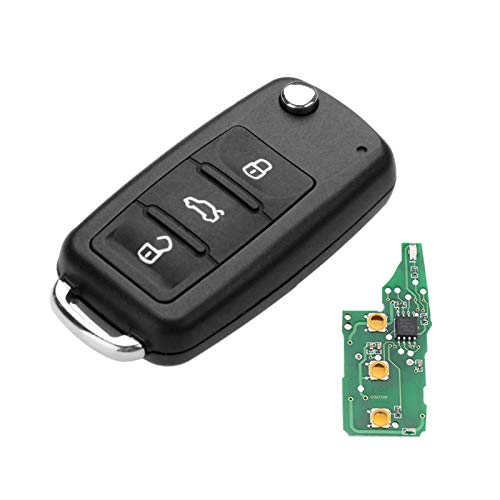 - Aupoko Replacement for 5K0837202AD 3 Button 434Mhz Flip Folding Remote Key Fob Uncut Blade Compatible for VW Golf Passat Tiguan Polo Jetta