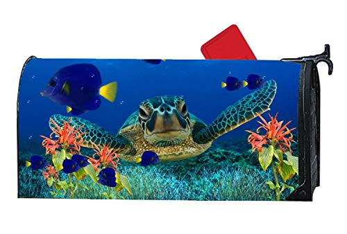 Coral Reef Turtle Sea Life Decorative Magnetic Mailbox Cover, Vinyl Mailbox Wraps Holiday Standard 6.5 x 19 - Holly Decor Holiday Wrap