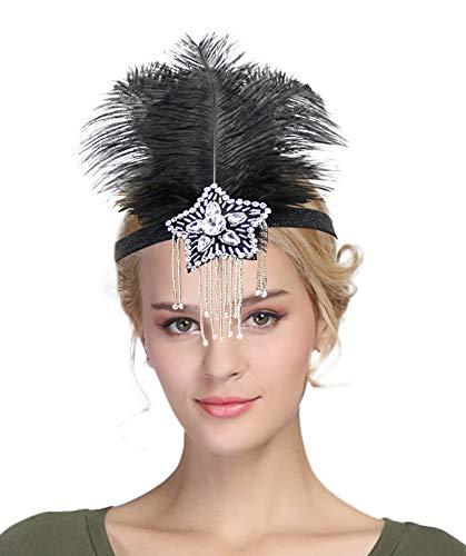 Urban CoCo Women's Indian Peacock Feather Headband Hair Clip Flapper Headpiece (Series 2-Black)