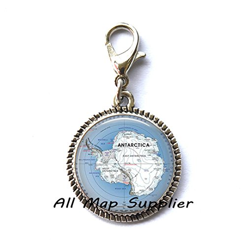 Beautiful Zipper Pull,Antarctic map Charming Zipper Pull, Antarctica map jewelry, South Pole map, Antarctic map Zipper Pull, Antarctic Zipper Pull,AO154