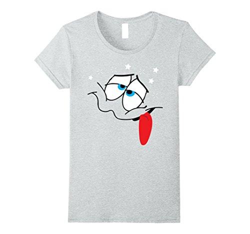 Womens Emoji Halloween Drunk Emoji Costume Dizzy Sick Matching XL Heather Grey -