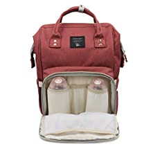 Diaper Bag Multi-Function Travel Backpack Nappy Bag for Baby Care with Insulated Pockets, Large Capacity, Durable by Henscoqi (Rust Red)
