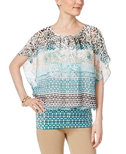 JM Collection Petite Printed Flutter-Sleeve Top (Striped Paisley, PL)