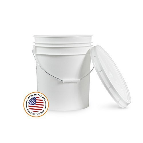 5 Gallon White Bucket & Lid - Set of 1 - Durable 90 Mil All Purpose Pail - Food Grade - Plastic Container by Living Whole Foods