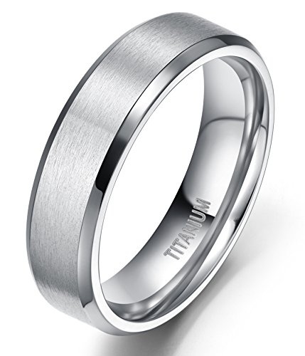 6mm Unisex Titanium Ring Flat Matte Brushed Beveled Edge Wedding Band Comfort Fit Size 4-13 (titanium, - Men Size 4