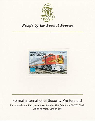Antigua 1986 Ameripex Stamp Exhibition 50c (USA Grand Canyon Express) imperf Proof Mounted on Format International Proof Card as SG 1015 Railways Americana JandRStamps