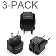 TESSAN Grounded Universal Travel Power Strip Plug Adapter USA to Europe Travel Prong Converter Adapter Plug Kit for Europe(Type C) - 3 Pack