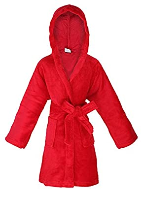 Halconia Kids Boy's & Girl's Hooded Solid Colored Bath, Shower, Pool Robe