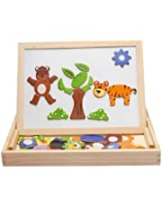 Wooden Children Animal Puzzle Writing Magnetic Drawing Board