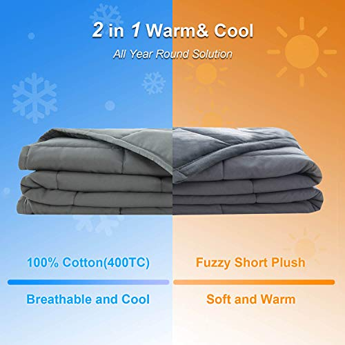 """Haowaner Reversible Weighted Blanket Cool Cotton Top+Soft Minky Bottom,15lbs Plush Blankets for Twin/Full Size(48""""x72"""") Bed,Premium Fleece Weight Comforter with Fuzzy,Fluffy Heavy Throw for Adult,Gray"""