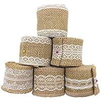 Lote de 6 rollos de cinta de arpillera natural con encaje blanco de QICI para manualidades