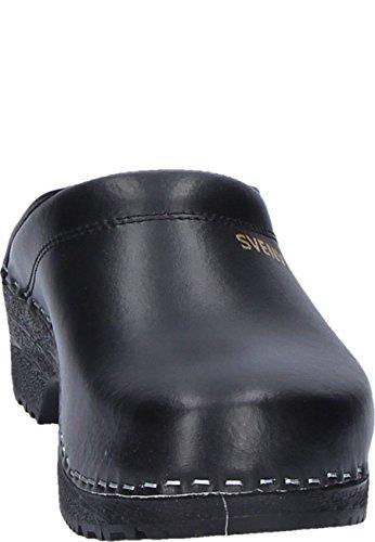 partie la Noir PU Noir Bloc Paragraphe Unisexe cuir Mules ouvert en avec Clog sur en supérieure Classique gnq5ZUva