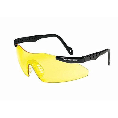 (Smith & Wesson 19826 Magnum 3G Safety Eyewear, Polycarbonate Anti-Scratch Lenses, One Size, Black Nylon Frame, Amber)