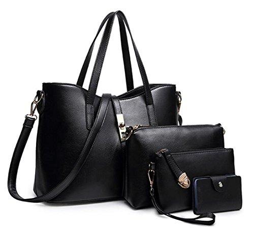 Womens 2 size Crocodile Grain Leather Handbag Shoulder bag (Black) - 1