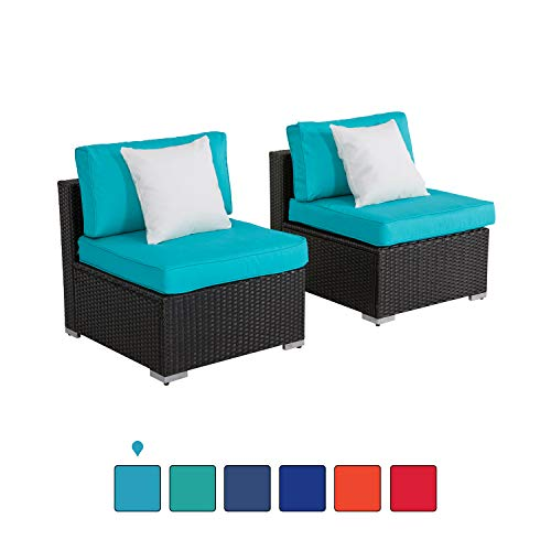 Furniture Resin Wicker - Kinsunny Peach Tree Outdoor Loveseat 2 PCs Patio Furniture Set, Wicker Armless Sofa Chairs Black Rattan Thick Cushions Infinitely Combination