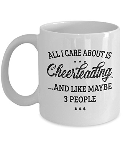 Cheerleading Mug - I Care And Like Maybe 3 People - Funny Novelty Ceramic Coffee & Tea Cup Cool Gifts for Men or Women with Gift Box ()