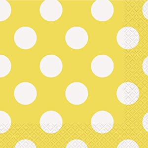 yellow polka dot paper napkins 16ct