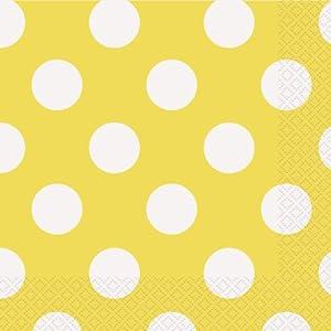 yellow polka dot paper napkins 16ct