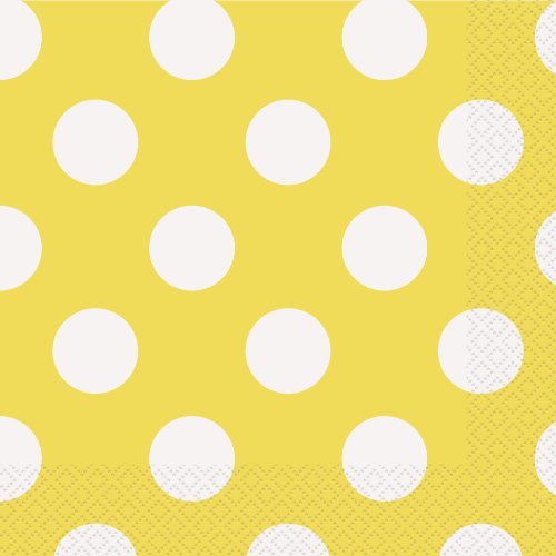 Yellow Polka Dot Paper Napkins, 16ct]()