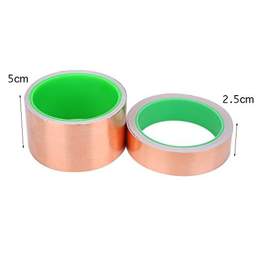 Alomejor Copper Foil Copper Sheet Highly Conductive Strong Adhesive Copper Foil Tape Wide for Guitar EMI Shielding Slug Repellent Crafts