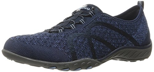 (Skechers Sport Women's Breathe Easy Fortune Fashion Sneaker,Navy Knit,9 M US)