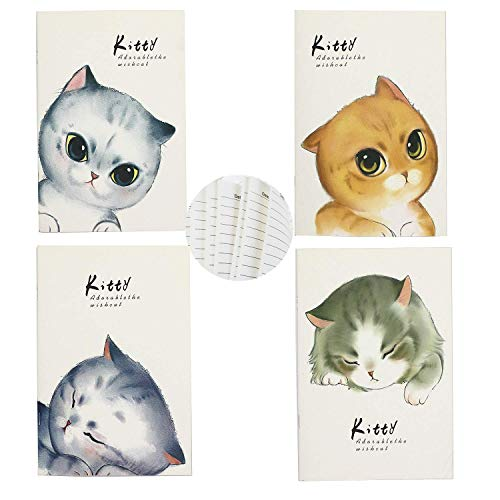 TANG SONG 4PCS 5.5''x8.1'' Cute Cat Series Softcover Notebook Lined Journal Notebook Dairy Book Composition Book Memo Pads for School Supplies, Office Desk, Cat Lover (60page/30sheet per pack)