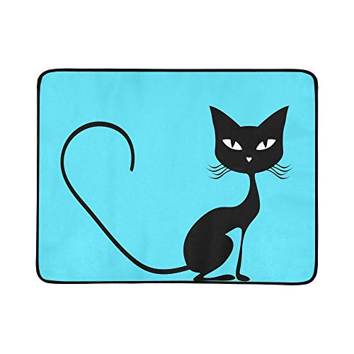YSWPNA Black Cat Portable and Foldable Blanket Mat 60x78 Inch Handy Mat for Camping Picnic Beach Indoor Outdoor Travel -