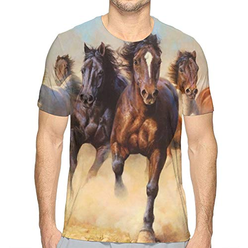 Indian Horse T-shirt - Men Boys Konie Stado Galop W Galopie Hors Horses Wild T-Shirts Hip Pop Short Sleeve Shirts Tops Big and Tall Size Summer Workwear for Surf Game Exercise, Crewneck, Quick Dry, Moisture Wicking