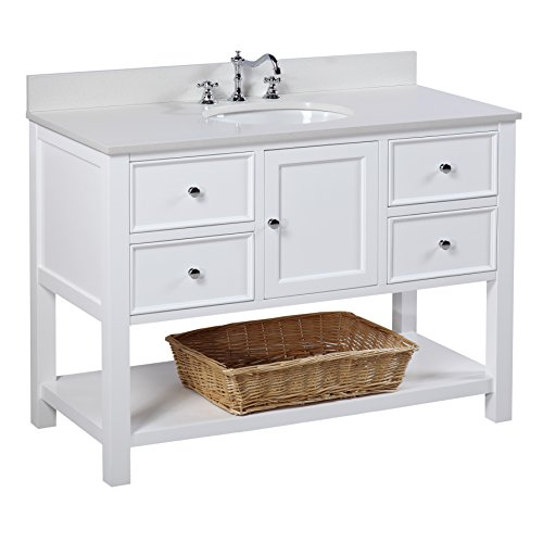 Caesar Bathroom Vanity - New Yorker 48-inch Bathroom Vanity (Quartz/White): Includes a Quartz Countertop, White Cabinet with Soft Close Drawers, and White Ceramic Sink