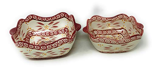 Temp-tations Set of 2 Bowls Scalloped Edge, Mix, Bake, Serve, 1.5 Qt & 1.0 Qt (Old World Cranberry)