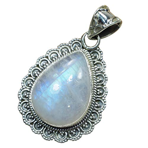 CZgem 925 Sterling Silver Pendant, Moonstone Pendant Gift for Women Handmade Jewelry Oval Shape Jun Birthdaystone D1097