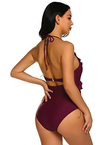 e80eed8e95c62 ... Ekouaer Women's One Piece Swimsuits Bandage Cutout High Cut Swimwear  Slimming Monokini Bathing Suits Wine ...
