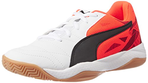 Puma Unisex-Kinder Veloz Indoor Iii Jr Hallenschuhe, Weiß (White-Black-Red Blast 02), 39 EU