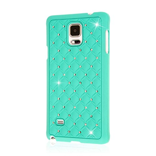 Samsung Galaxy Note 4 Case (Mint), EMPIRE GLITZ Slim-Fit Raised Edge Sleek Eye Catching Crystal Jewels Design Hard Samsung Galaxy Note 4 Case (1 Year Manufacturer Warranty) - Bling Accent Mint - Glitz Jewel