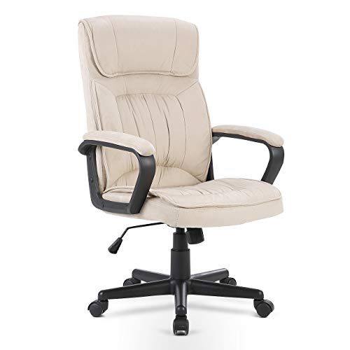 Belleze Executive Office Microfiber High Back Padded Lumbar Chair, Light - Microfiber Chair Beige