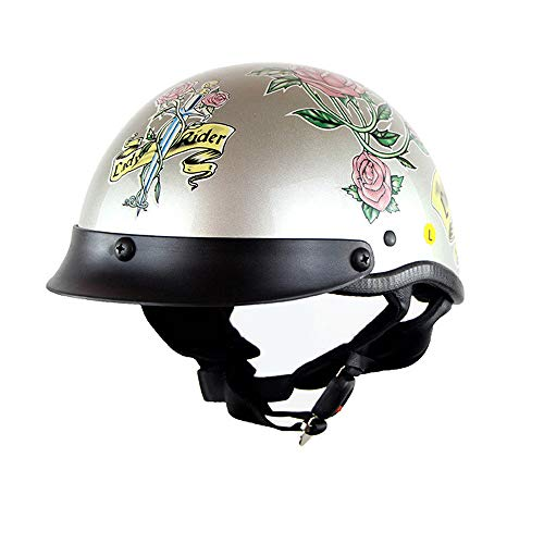 DYM258 Motorcycle Half Face Helmet DOT Certification Vintage Fashion Motor Bike Harley Helmets Men and Women Helmets Half Helmets Half-Covered Helmets Cruise Helmets Prince Helmets,L