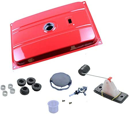 Heavy Duty Metal Universal 7 Gallon Red Generator Gas Oil Tank Kit Fits for EC6500 26.5 Liter with Chrome Gas Cap Fuel Switch Oil Meter Filter /& Bushing
